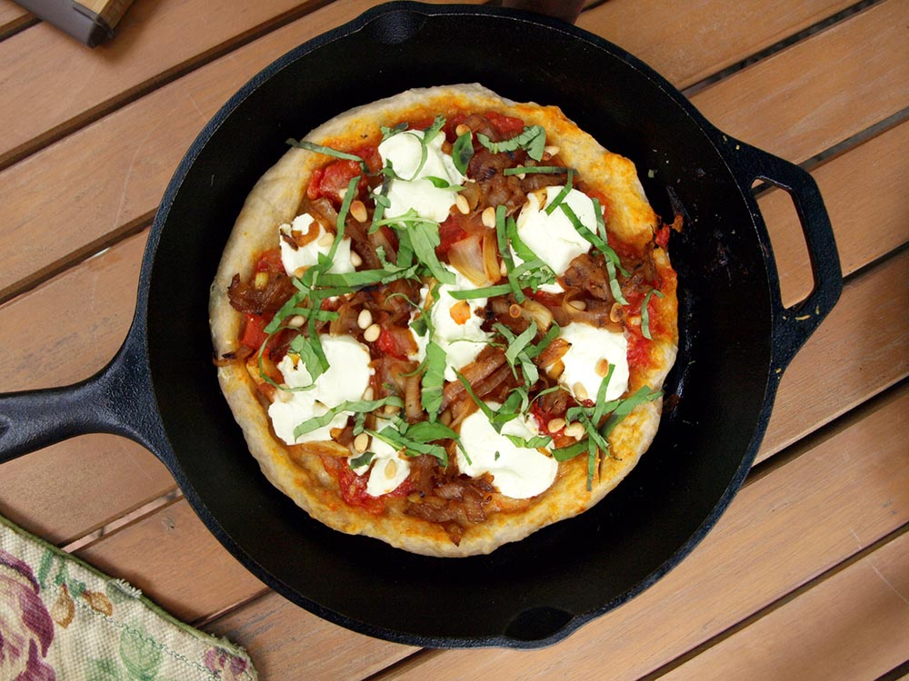 Cast Iron Pizza With Goat Cheese, Pine Nuts, and ...