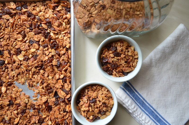 Homemade raisin almond granola