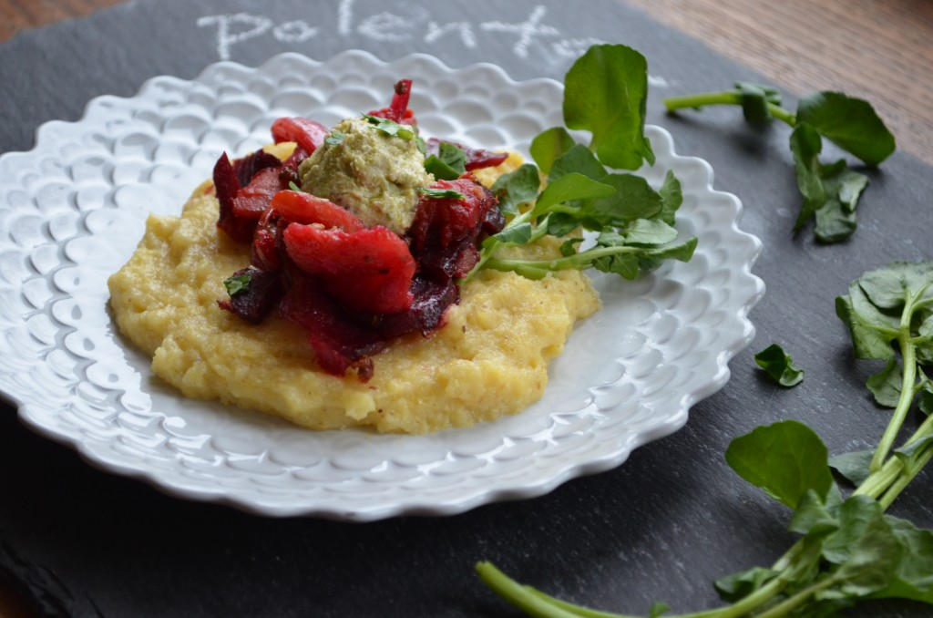 Parmesan Polenta with Roasted Root Veggies and Pistachio Goat Cheese