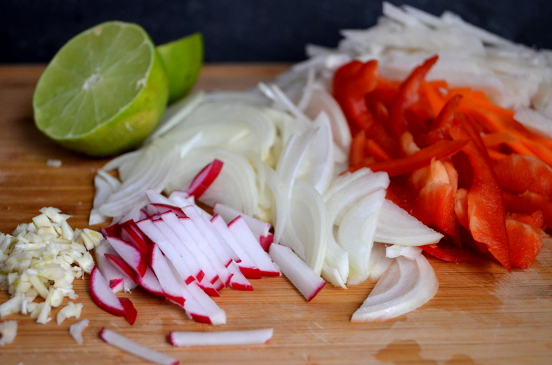 Radishes, Jicama, Onions, Bell Peppers, and Limes ready to go in the skillet.