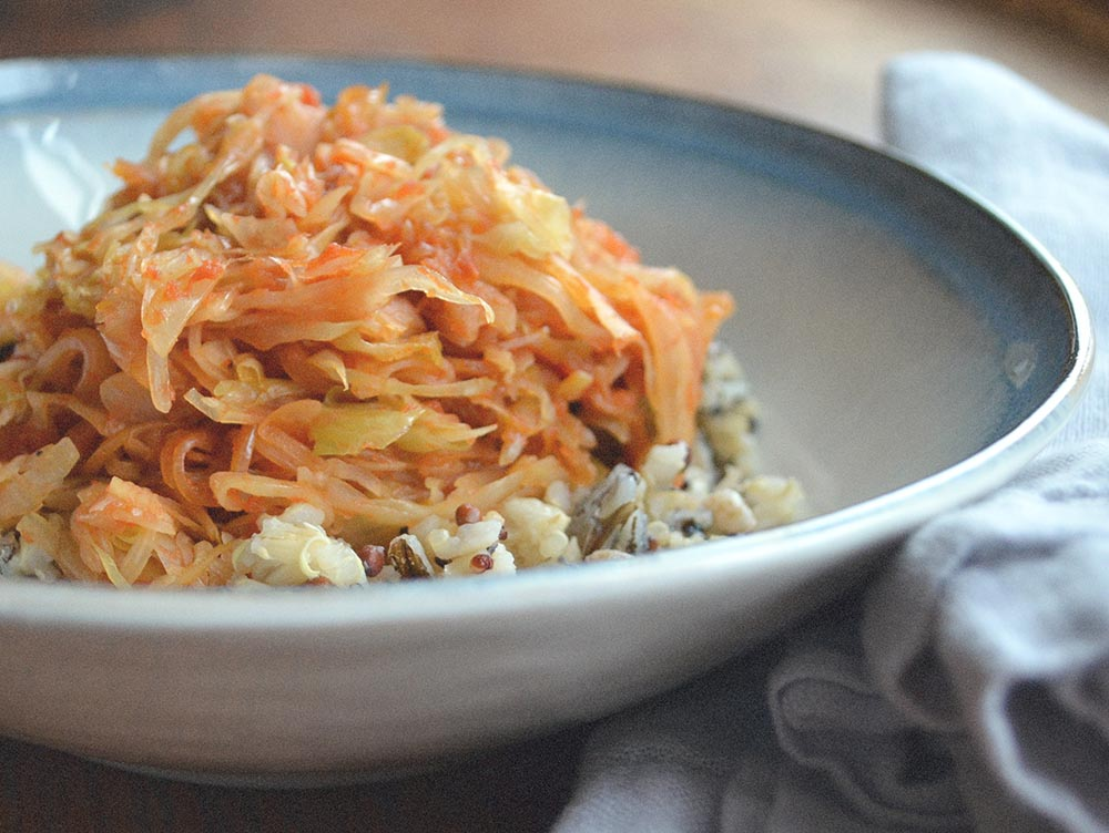 Shredded Sauteed Cabbage with Ginger and Tomato