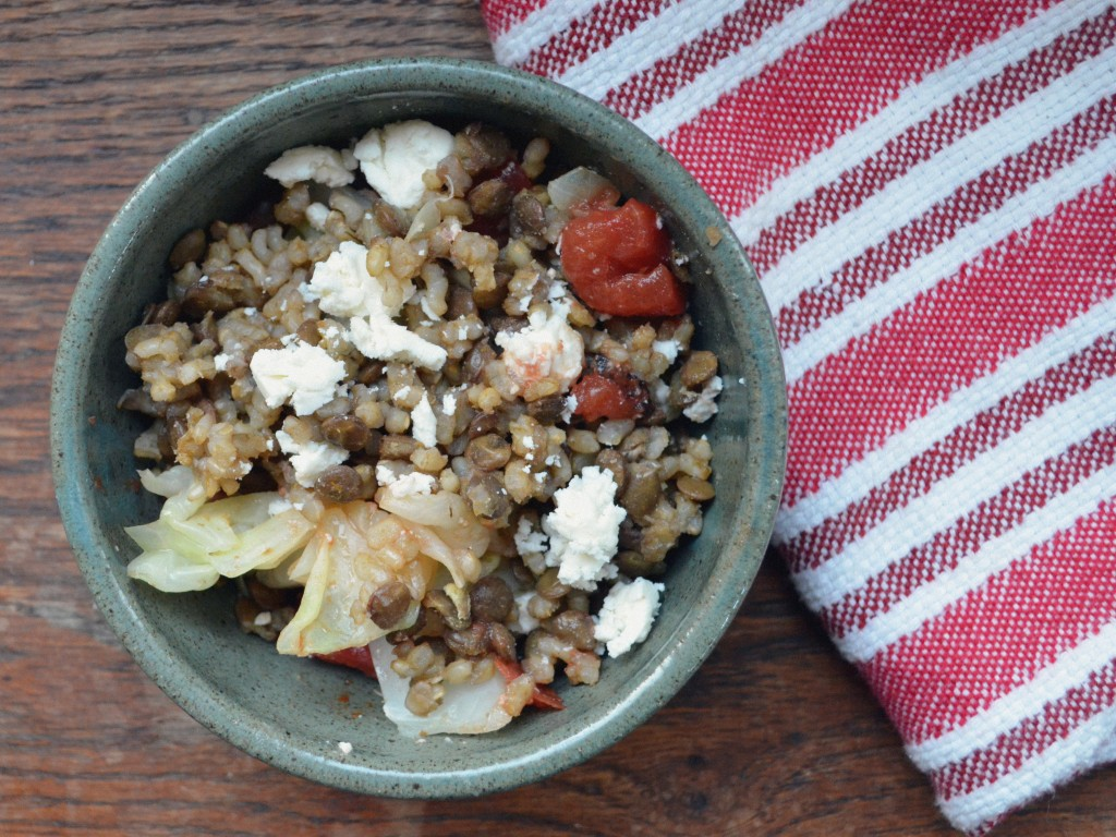 Deconstructed Stuffed Cabbage with Lentils and Rice