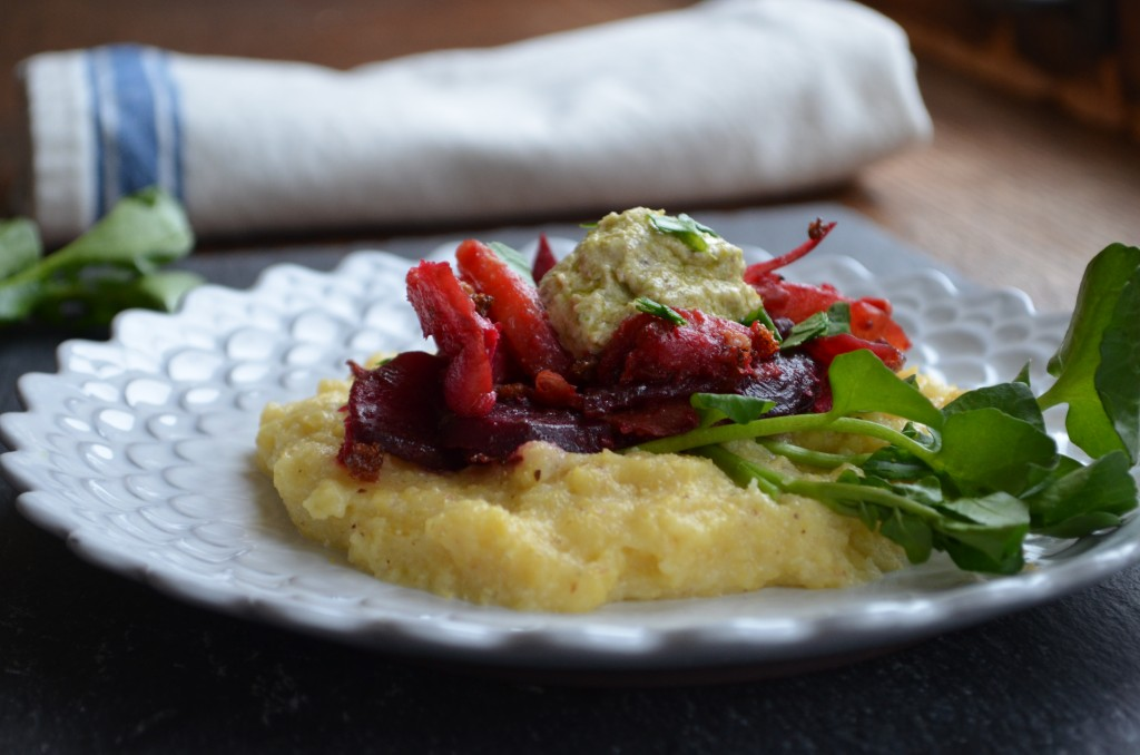 Parmesan Polenta with Roasted Root Veggies